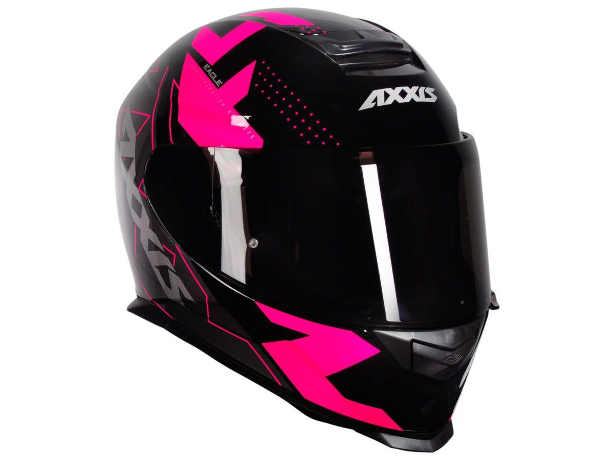 Capacete Feminino Axxis Eagle Diagon Preto/Rosa  - Manolo Motos