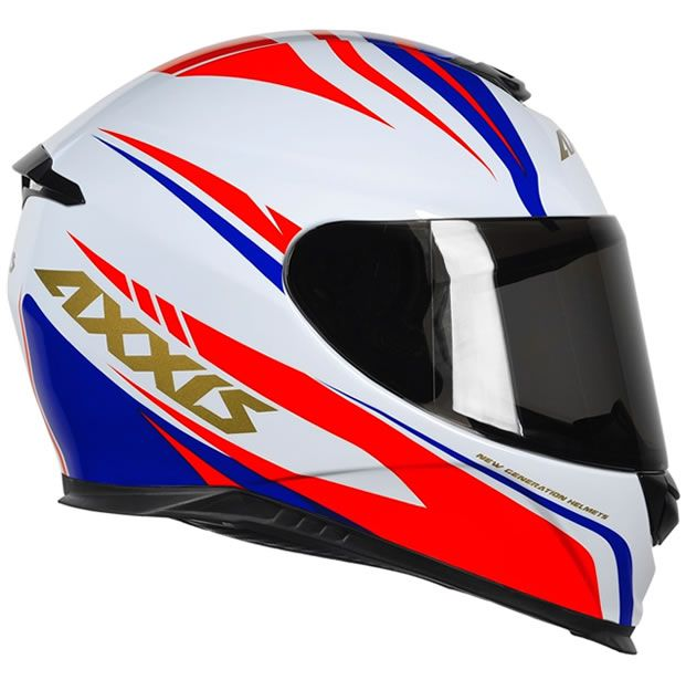 Capacete Axxis Eagle Hybrid Branco/Vermelho/Azul  - Manolo Motos