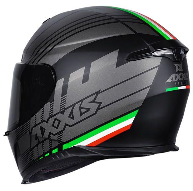 Capacete Axxis Eagle Italy Preto/Cinza Fosco  - Manolo Motos