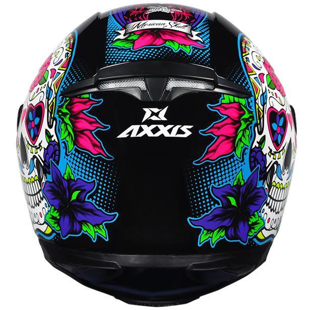 Capacete Axxis Eagle Skull Preto Brilho/Azul  - Manolo Motos