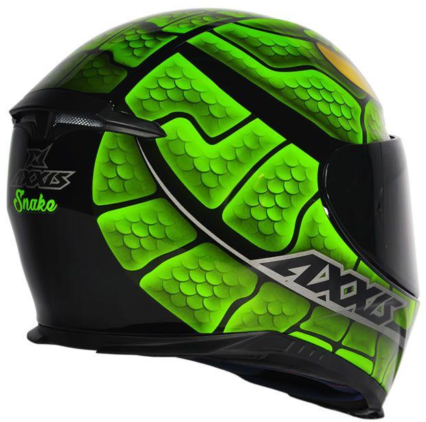 Capacete Axxis Eagle Snake Preto/Verde  - Manolo Motos