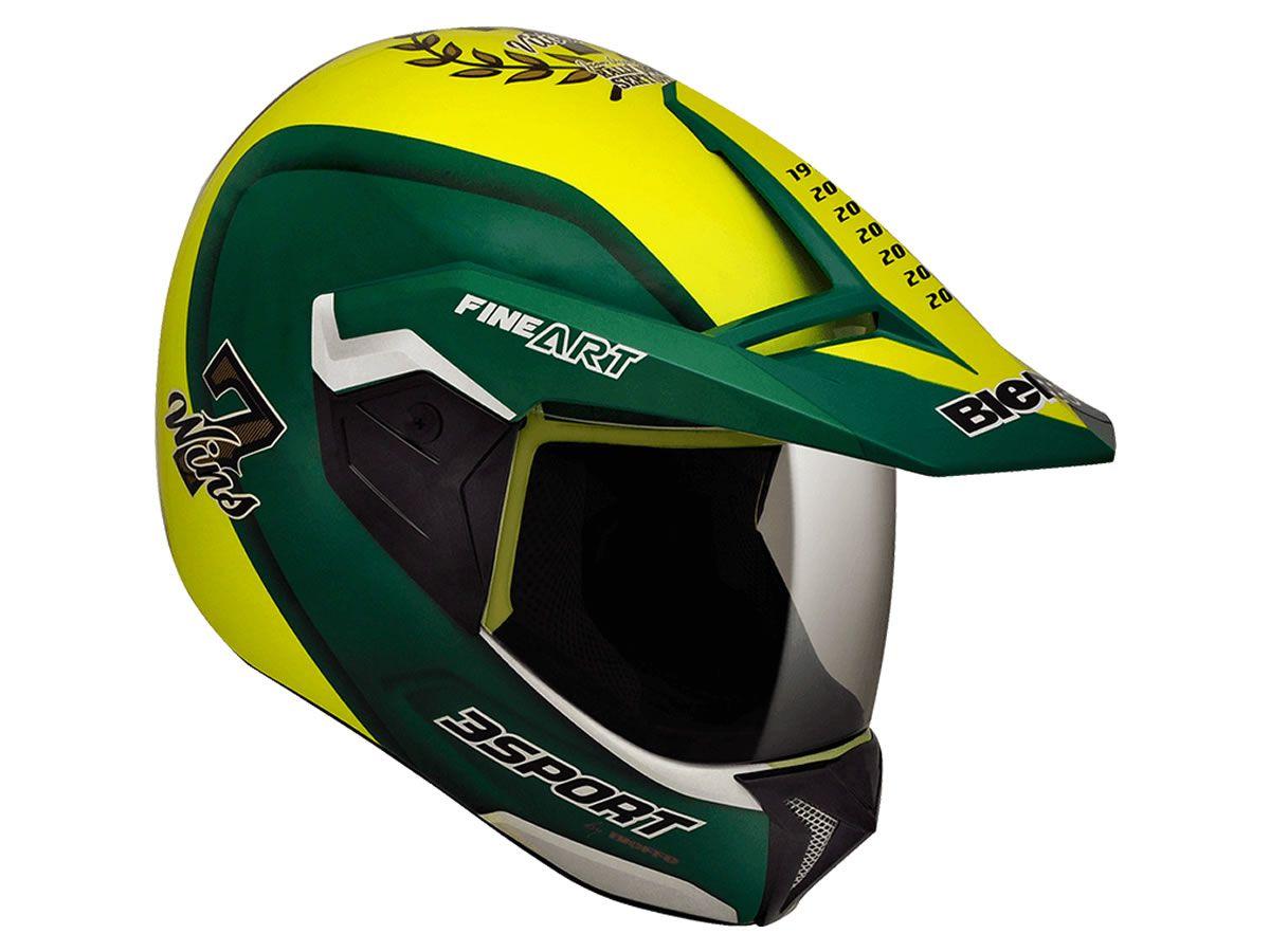 Capacete Bieffe 3 Sport 7 Wins Amarelo/Verde  - Manolo Motos