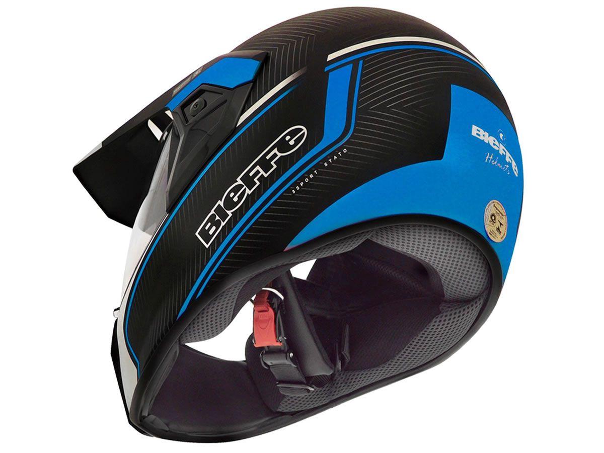 Capacete Bieffe 3 Sport Stato Preto Fosco/Azul  - Manolo Motos