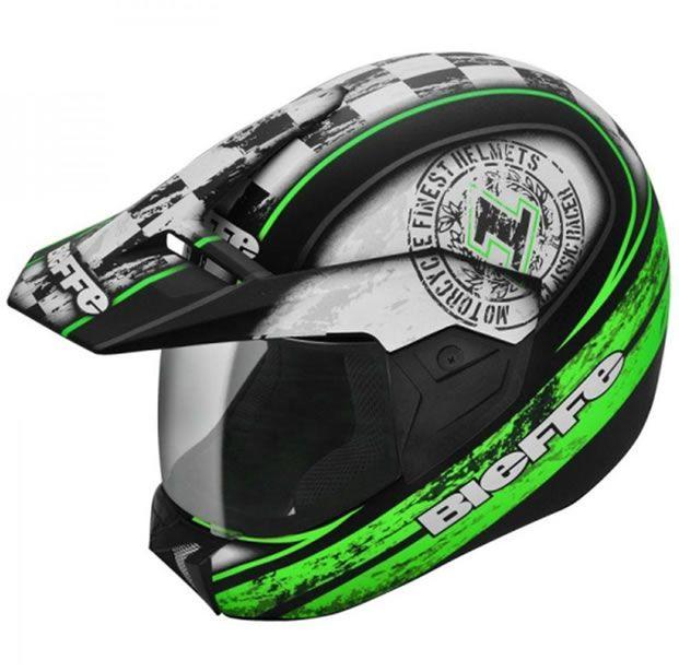 Capacete Bieffe 3 Sport Uno Preto Fosco/ Verde   - Manolo Motos