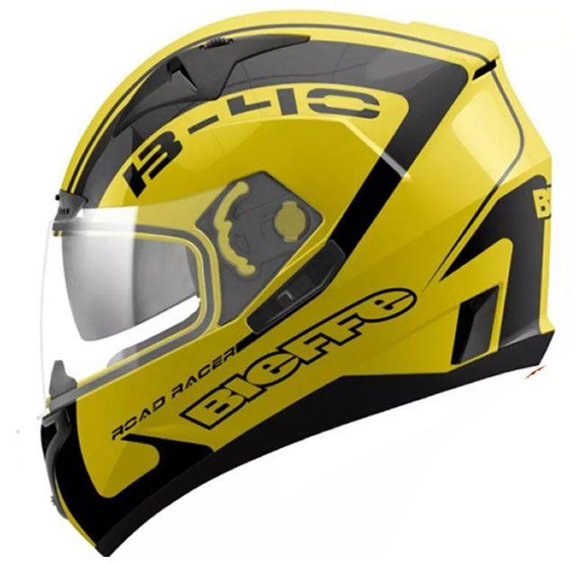 Capacete Bieffe B-40 Road Racer Amarelo/Preto  - Manolo Motos