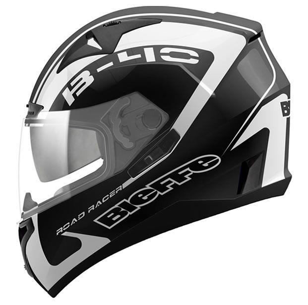 Capacete Bieffe B-40 Road Racer Preto/Branco  - Manolo Motos
