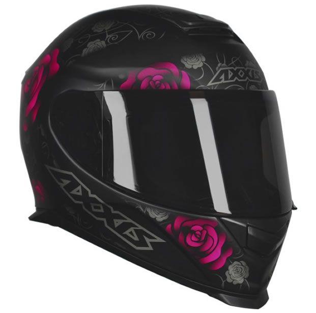 Capacete Feminino Axxis Eagle Flowers Preto/Rosa Fosco  - Manolo Motos