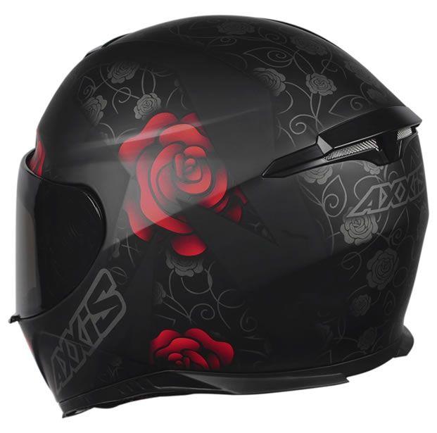 Capacete Feminino Axxis Eagle Flowers Preto/Vermelho Fosco  - Manolo Motos