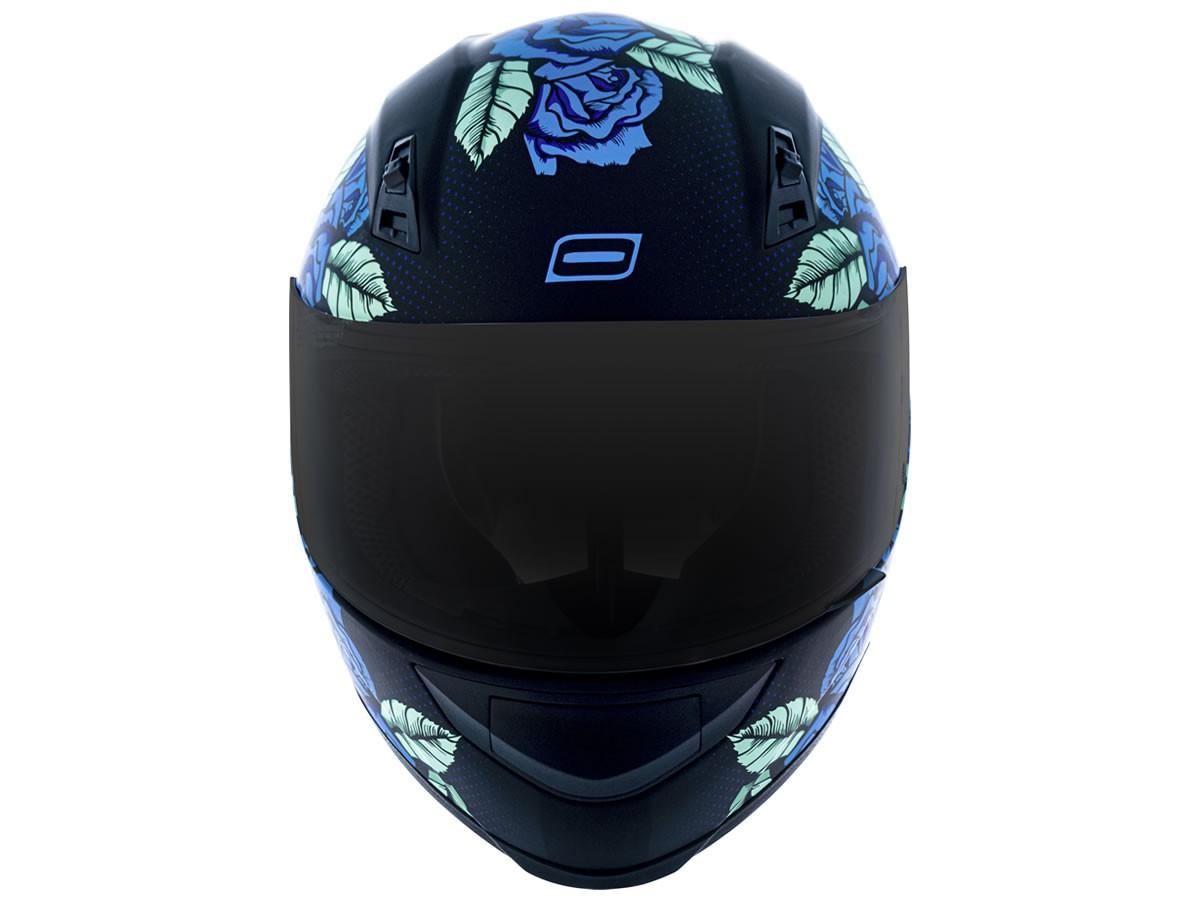 Capacete Feminino Norisk FF391 Stunt Bed Of Roses Preto Fosco/Azul  - Manolo Motos