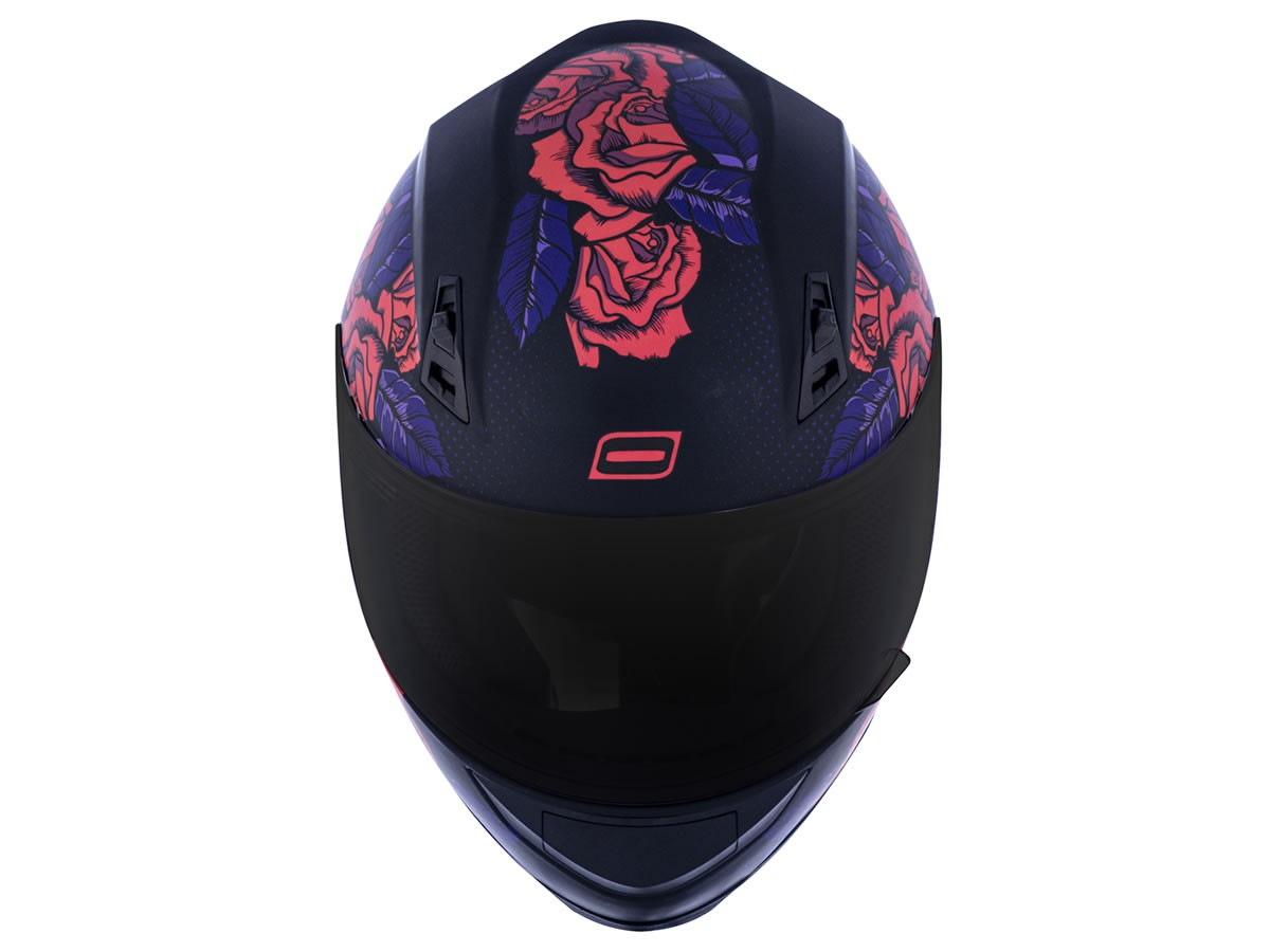 Capacete Feminino Norisk FF391 Stunt Bed Of Roses Preto Fosco/Rosa  - Manolo Motos