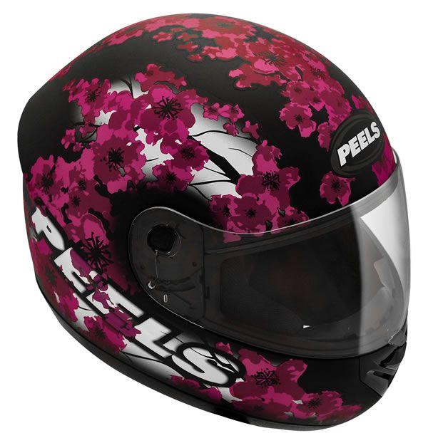 Capacete Feminino Peels Spike Blossom Preto Fosco/Magenta