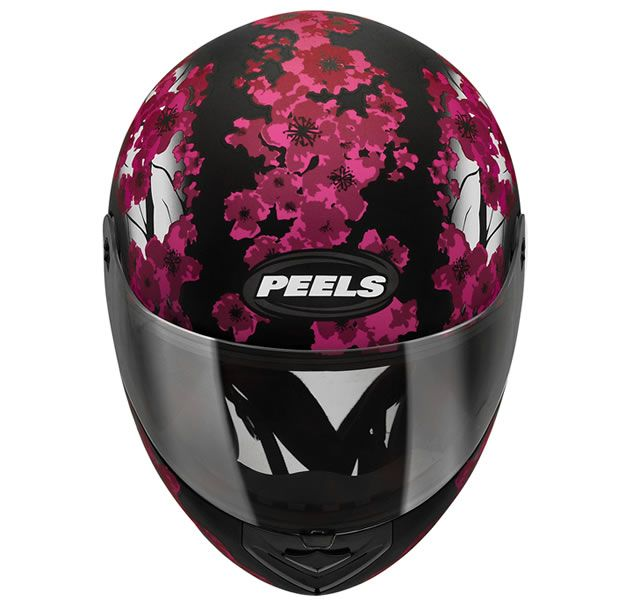 Capacete Feminino Peels Spike Blossom Preto Fosco/Magenta + Viseira Fumê  - Manolo Motos