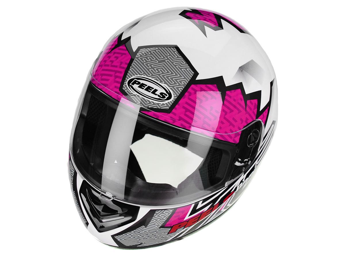 Capacete Feminino Peels Spike Maze Branco/Rosa  - Manolo Motos