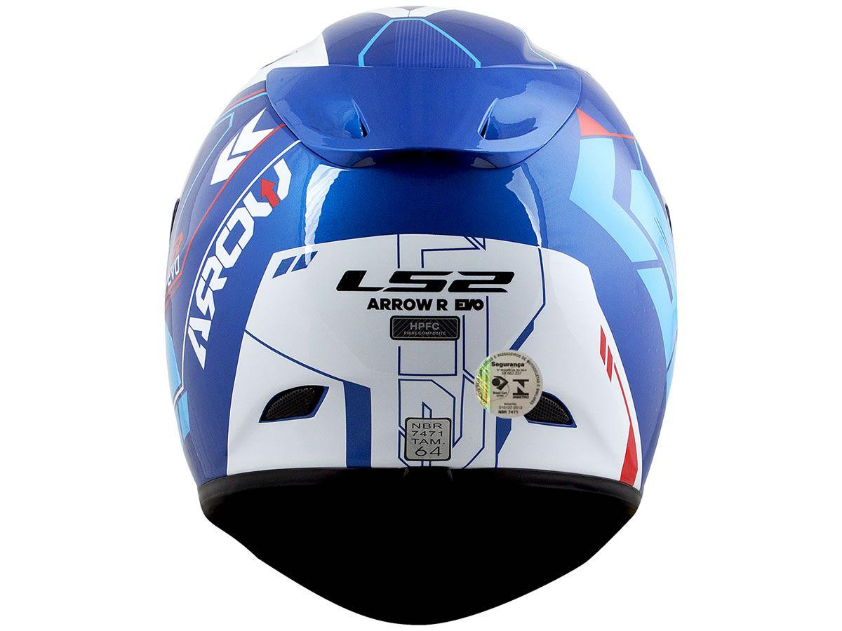 Capacete LS2 FF323 Arrow R Techno Branco/Azul/Vermelho  - Manolo Motos