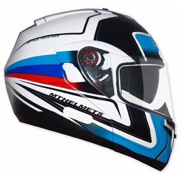 Capacete MT Optimus SV Tricolore Azul (Escamoteável)   - Manolo Motos
