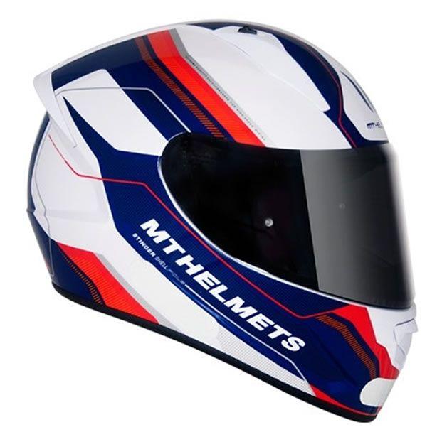 Capacete MT Stinger Pole Branco/Azul  - Manolo Motos