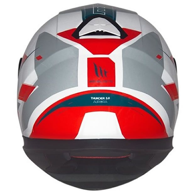 Capacete MT Thunder 3 Aurora Branco/Cinza/Vermelho Brilho  - Manolo Motos