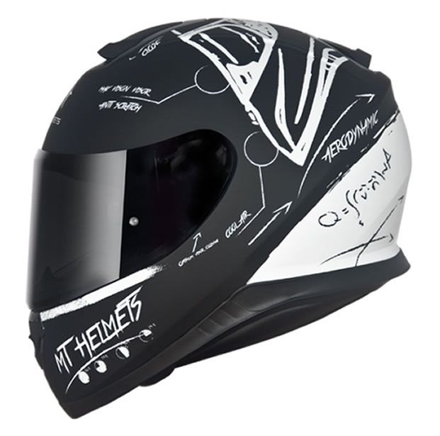 Capacete MT Thunder 3 Board Preto/Branco Fosco  - Manolo Motos