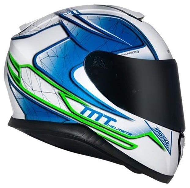 Capacete MT Thunder 3 Storke Branco/Azul Brilho  - Manolo Motos