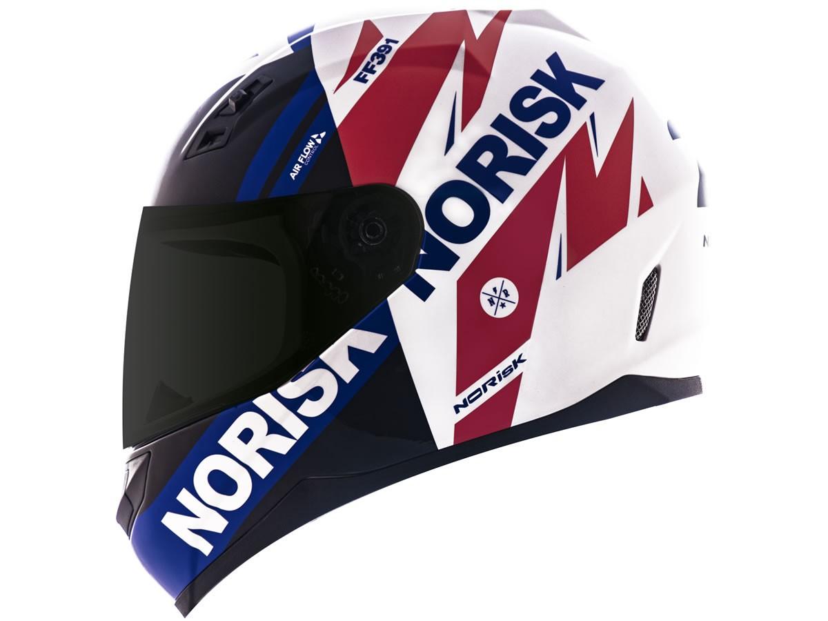 Capacete Norisk FF391 Stunt Furious Branco/Azul  - Manolo Motos