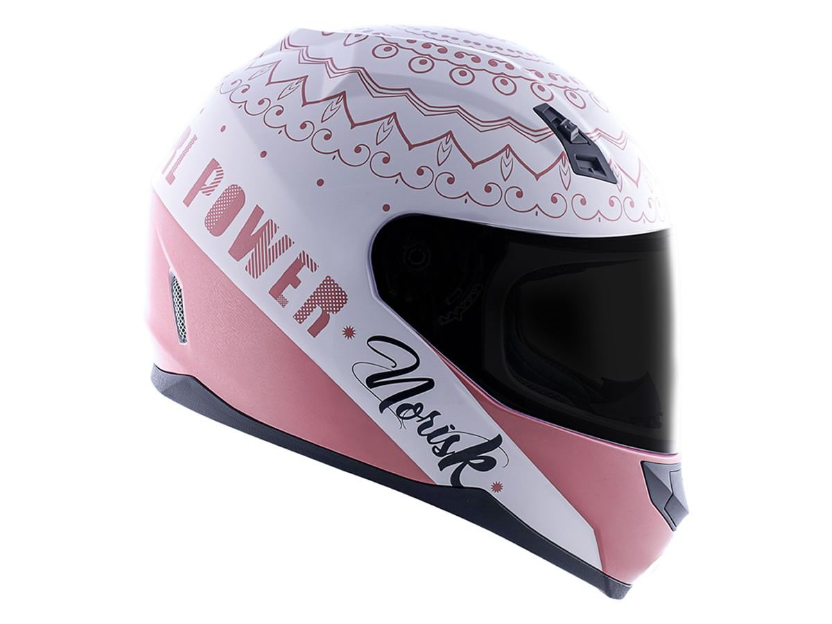 Capacete Feminino Norisk FF391 Stunt Girl Power Branco/Rosa  - Manolo Motos