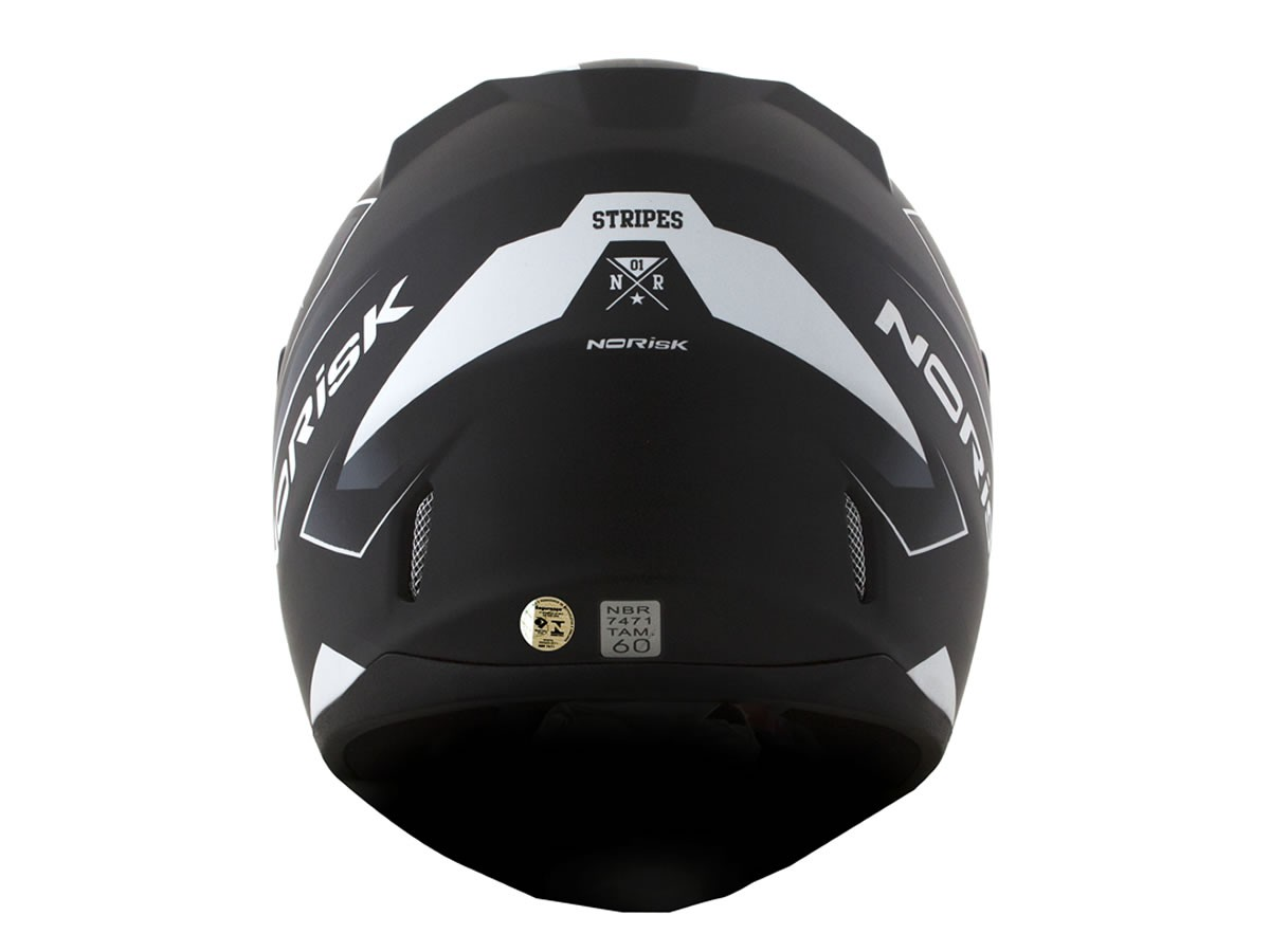 Capacete Norisk FF391 Stunt Stripes Preto Fosco/Cinza/Branco  - Manolo Motos