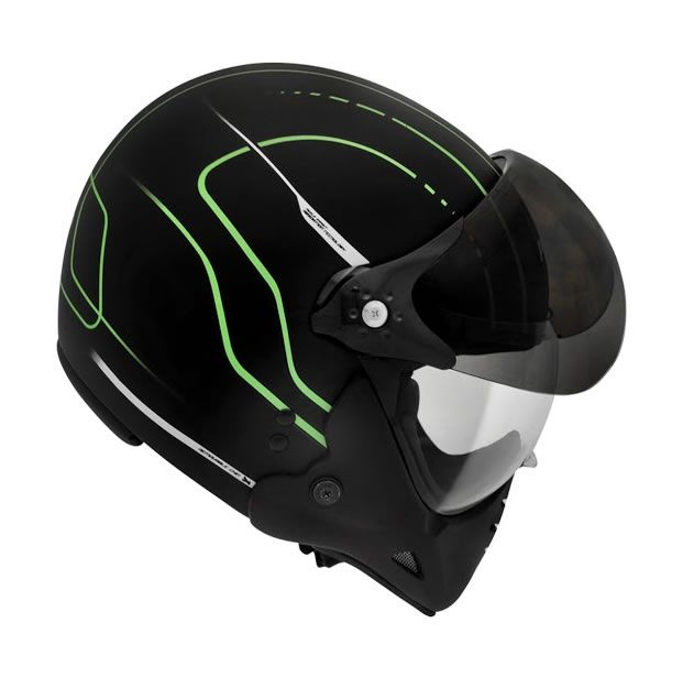 Capacete Peels F21 TechLine Preto Fosco/Verde