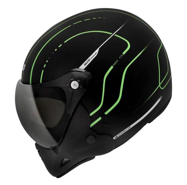 Capacete Peels F21 TechLine Preto Fosco/Verde  - Manolo Motos