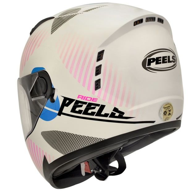 Capacete Peels Feminino Icon Ride Branco/Rosa Com Viseira Interna  - Manolo Motos