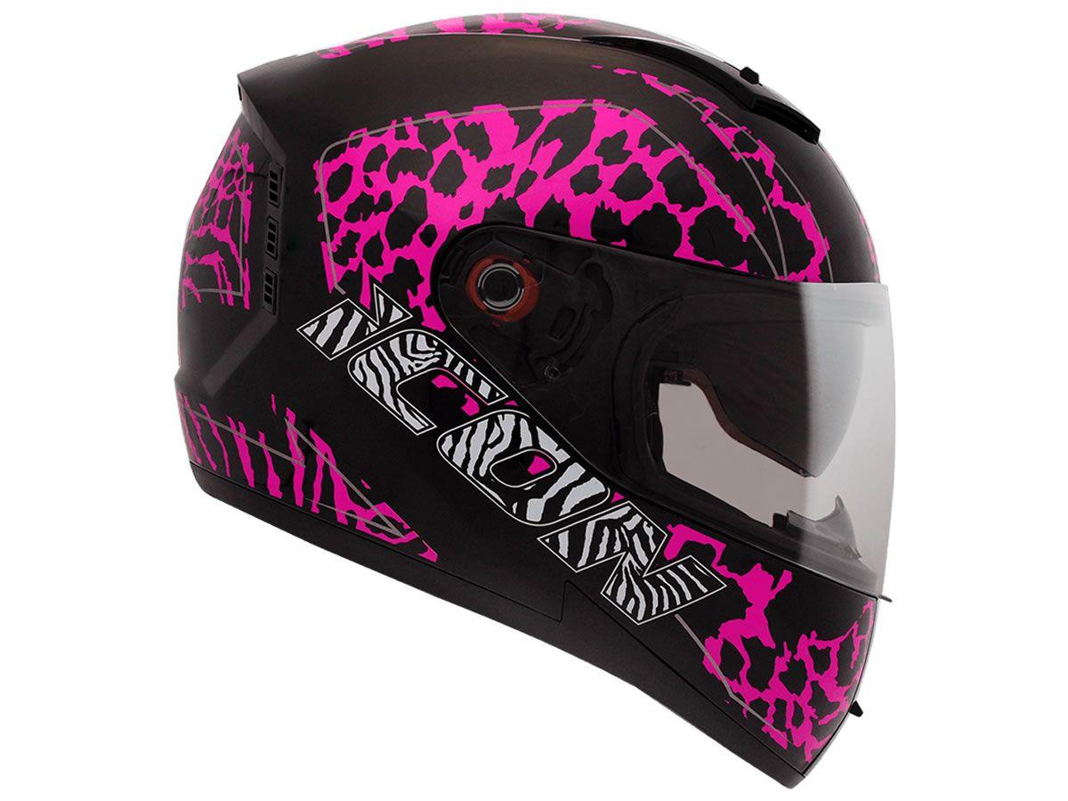 Capacete Peels Feminino Icon Savage Preto /Rosa Com Viseira Interna  - Manolo Motos