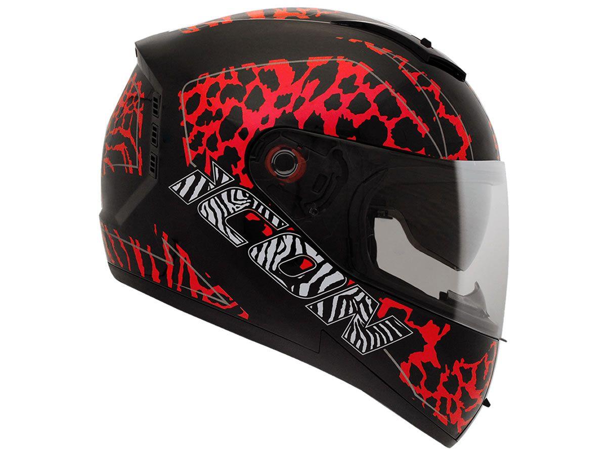 Capacete Peels Feminino Icon Savage Preto /Vermelho Com Viseira Interna  - Manolo Motos