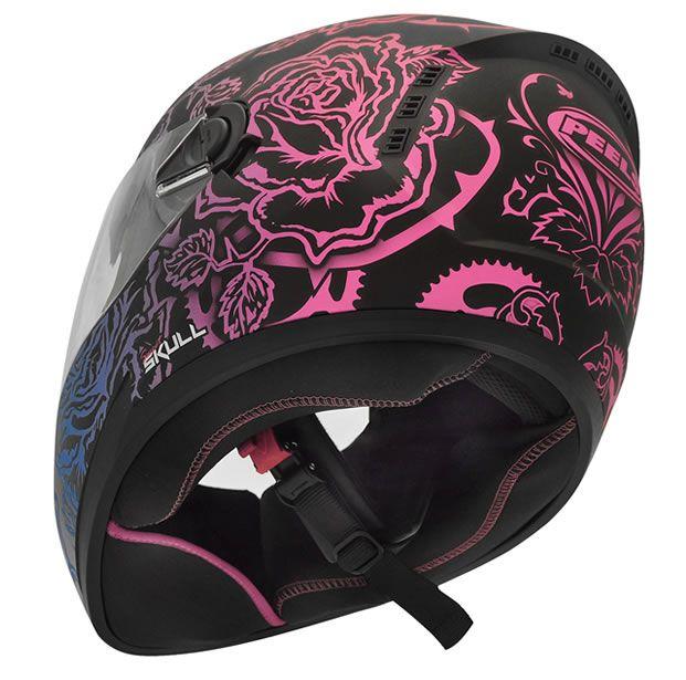 Capacete Peels Feminino Icon Sweet Skull Preto Fosco/Colorido Com Viseira Interna  - Manolo Motos