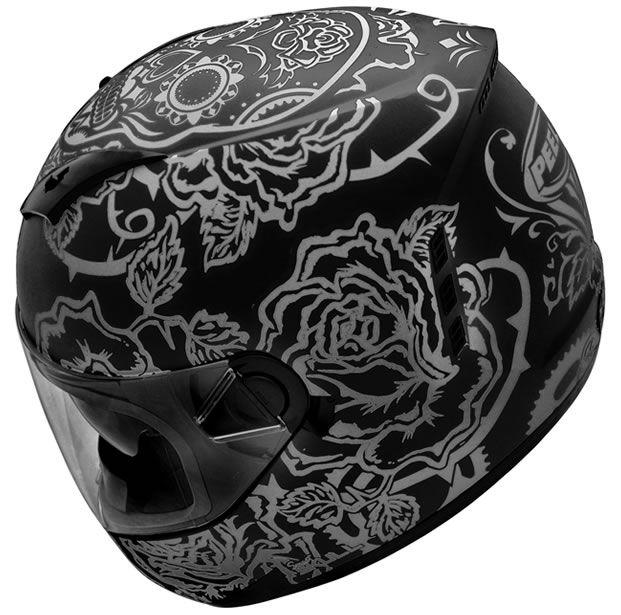 Capacete Peels Feminino Icon Sweet Skull Preto Fosco/Grafite Com Viseira Interna  - Manolo Motos