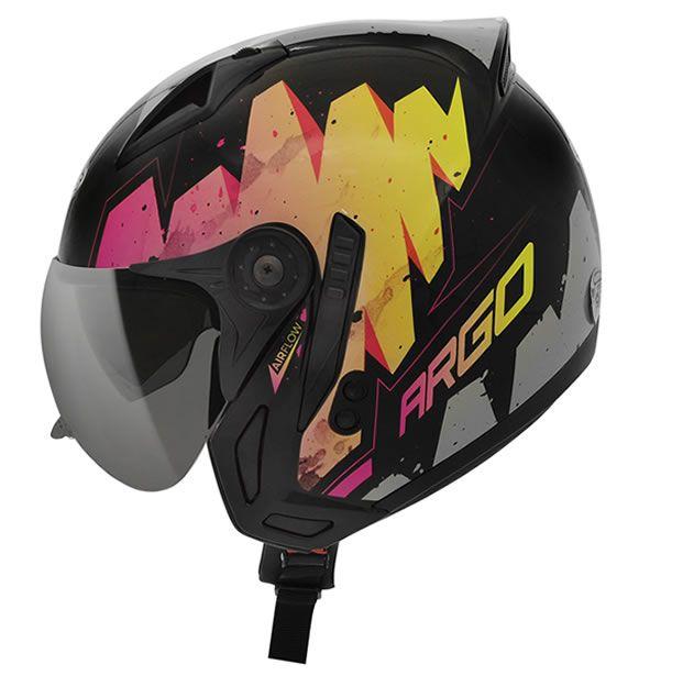 Capacete Peels Feminino Mirage Argo Preto/Rosa Com Viseira Interna  - Manolo Motos
