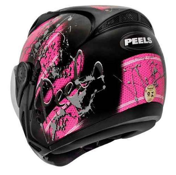Capacete Peels Feminino Mirage Splash Preto/Rosa Com Viseira Interna  - Manolo Motos