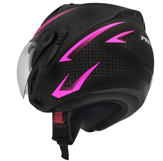 Capacete Peels Feminino Mirage Storm Preto Fosco/Rosa Com Viseira Interna  - Manolo Motos