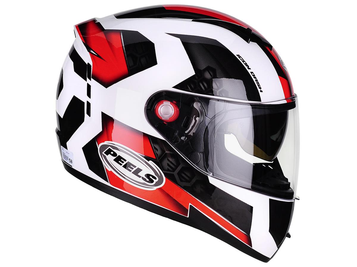 Capacete Peels Icon Dash Branco/Vermelho  - Manolo Motos
