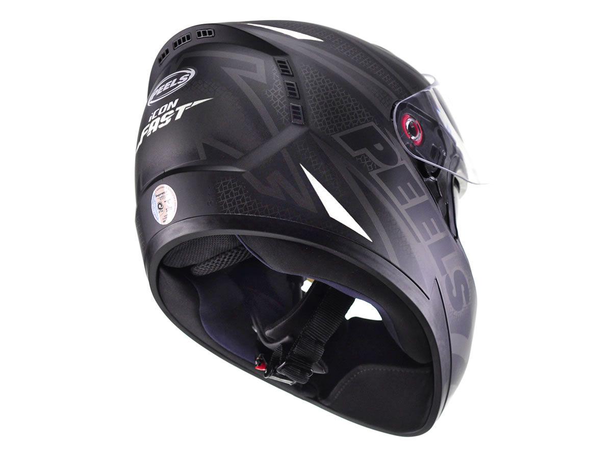 Capacete Peels Icon Fast Preto Fosco/Branco  - Manolo Motos