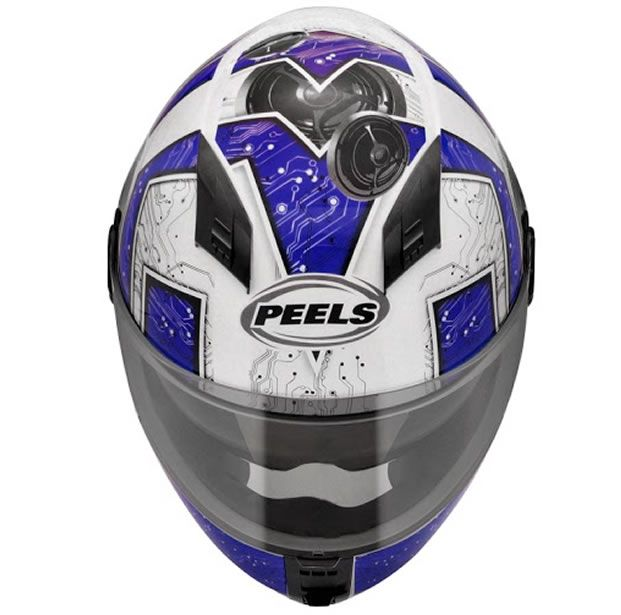 Capacete Peels Icon Sound Branco/Azul Com Viseira Interna  - Manolo Motos