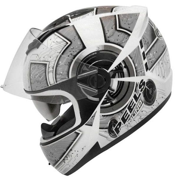Capacete Peels Icon Sound Branco/Prata Com Viseira Interna  - Manolo Motos