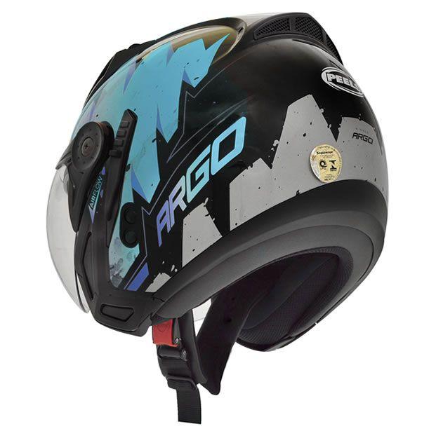 Capacete Peels Mirage Argo Preto/AzulCom Viseira Interna  - Manolo Motos