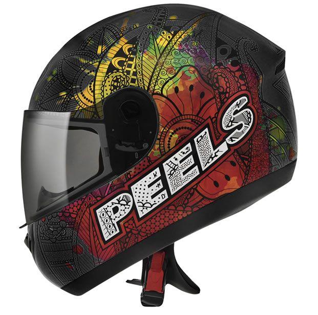 Capacete Peels Spike Indie Preto Chumbo Fosco Colorido  - Manolo Motos
