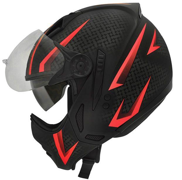 Capacete Peels Mirage Storm Preto Fosco/Vermelho Com Viseira Interna  - Manolo Motos