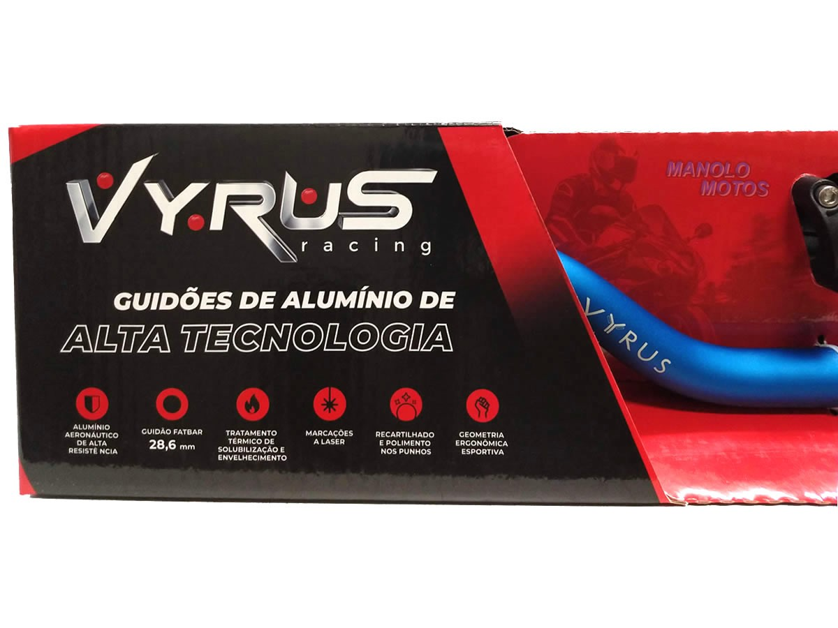 Guidão Vyrus Fat Bar [Alto] + Adaptador Bros/XRE/Lander/Tenere/Xtz  - Manolo Motos
