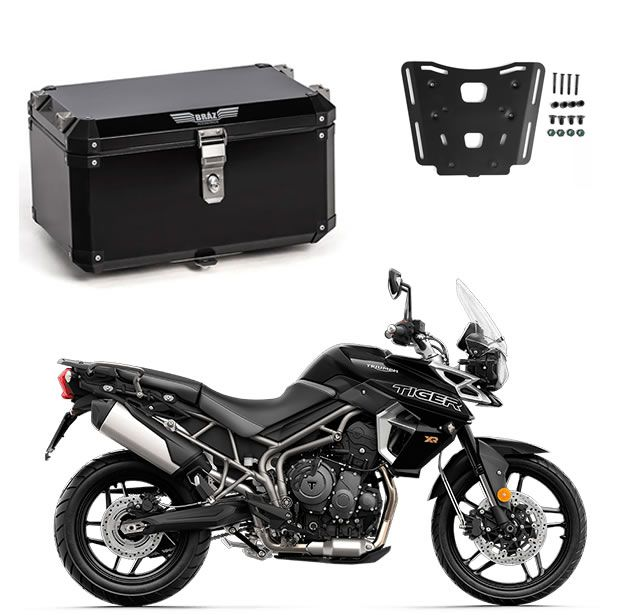 KIT Bauleto Central Braz Atacama 55L Preto + Base para Tiger 800  - Manolo Motos