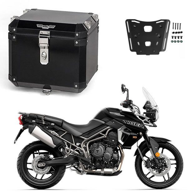 KIT Bauleto Central Braz  Atacama 43L Preto + Base para Tiger 800
