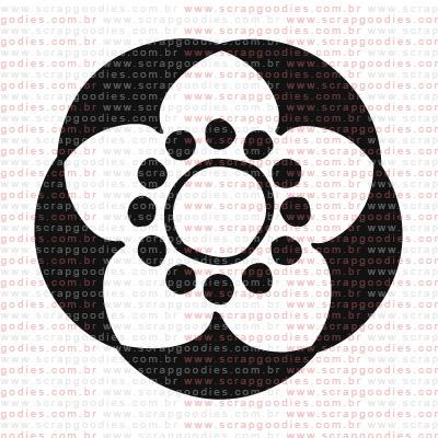 153 - Flor negativo com bolinhas pequena  - SCRAP GOODIES
