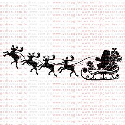 208 - Trenó com renas e Papai Noel  - SCRAP GOODIES