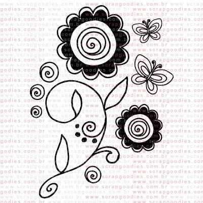 237 - Ramo com flores e borboletas  - SCRAP GOODIES