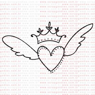 239 - Coração alado com coroa  - SCRAP GOODIES